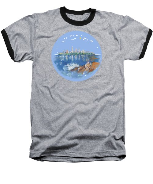 Cleveland Skyline Plate Baseball T-Shirt by Mary Armstrong