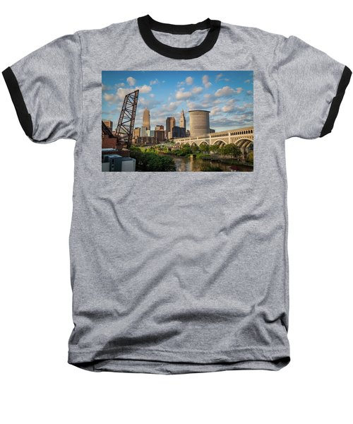 Cleveland Summer Skyline  Baseball T-Shirt