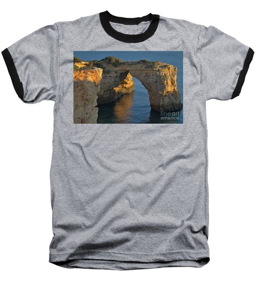 Cliff Arch In Albandeira Beach During Sunset 2 Baseball T-Shirt by Angelo DeVal