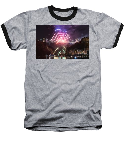 Clifton Suspension Bridge Fireworks Baseball T-Shirt