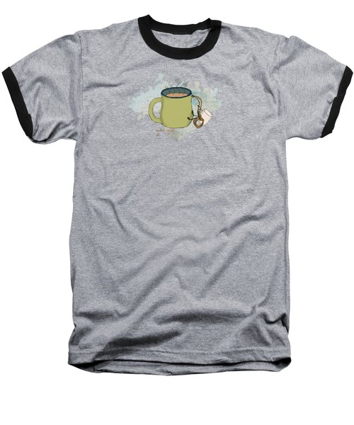 Climbing Mt Cocoa Illustrated Baseball T-Shirt by Heather Applegate