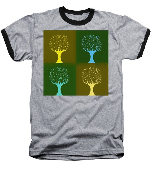 Baseball T-Shirt featuring the mixed media Clip Art Trees by Dan Sproul