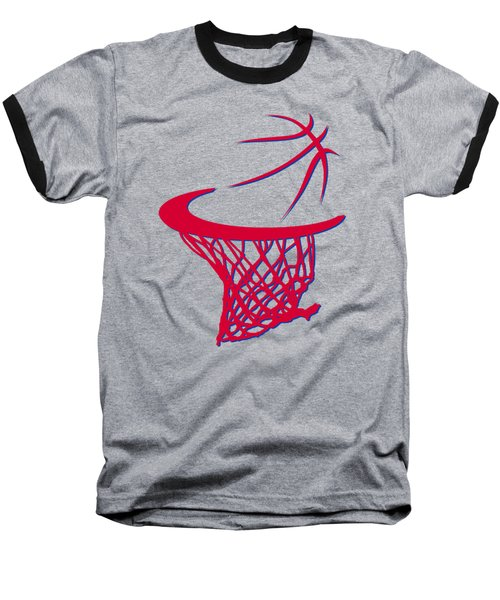 Clippers Basketball Hoop Baseball T-Shirt by Joe Hamilton