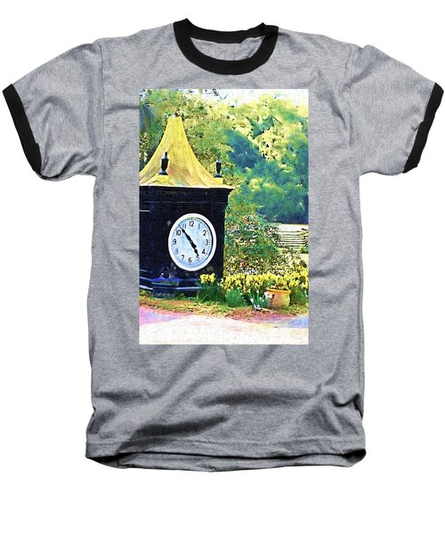 Baseball T-Shirt featuring the photograph Clock Tower In The Garden by Donna Bentley