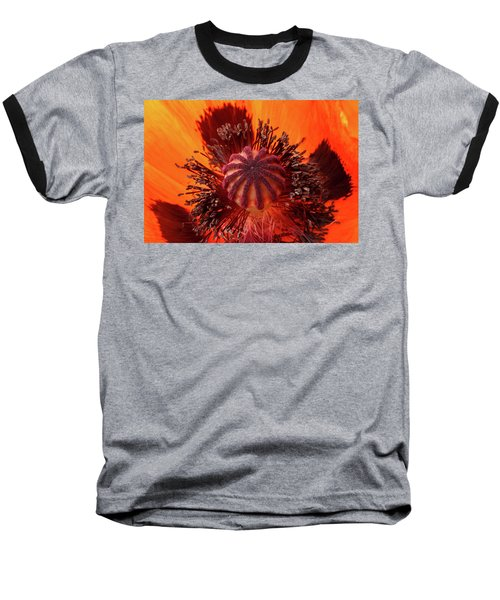 Close-up Bud Of A Red Poppy Flower Baseball T-Shirt