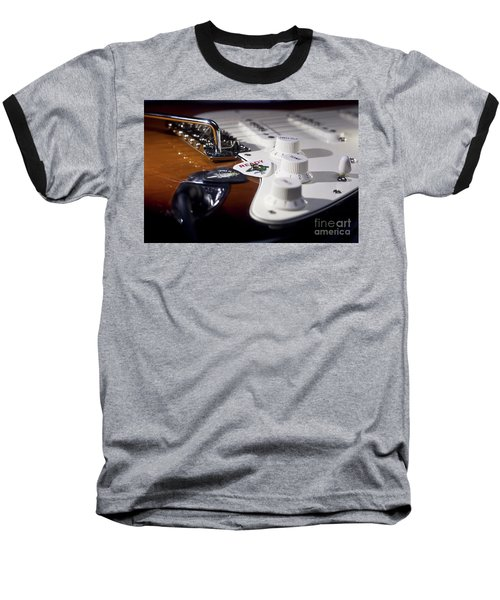 Baseball T-Shirt featuring the photograph Close Up Guitar by MGL Meiklejohn Graphics Licensing