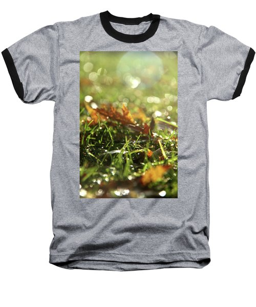 Close-up Of Dry Leaves On Grass, In A Sunny, Humid Autumn Morning Baseball T-Shirt