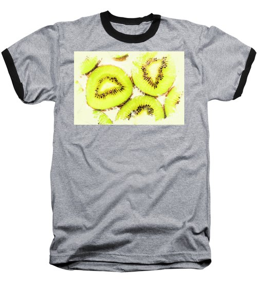 Close Up Of Kiwi Slices Baseball T-Shirt