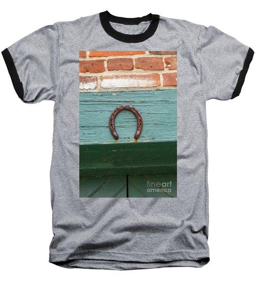 Close Up Of Rusty Horseshoe Baseball T-Shirt