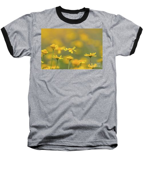 Close Up Of Yellow Flower With Blur Background Baseball T-Shirt