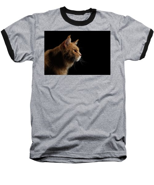Close-up Portrait Ginger Maine Coon Cat Isolated On Black Background Baseball T-Shirt