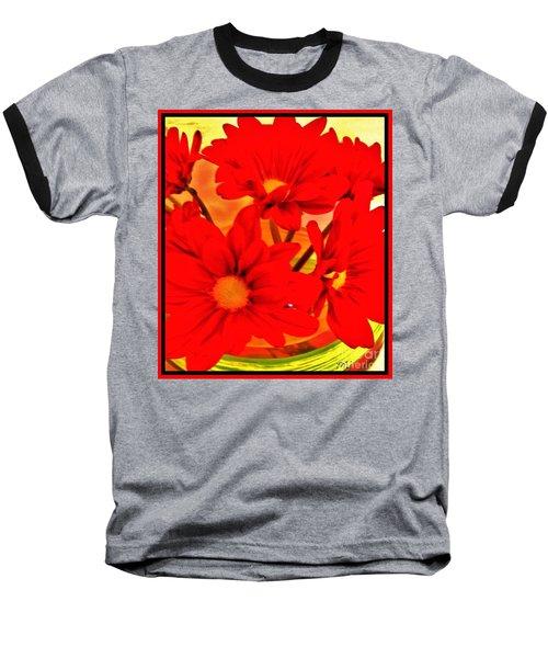 Close Up Red Gerbers Baseball T-Shirt by Marsha Heiken