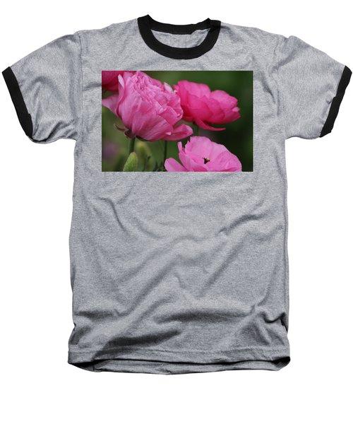 Closeup Deep Peony Pink Ranunculus Baseball T-Shirt