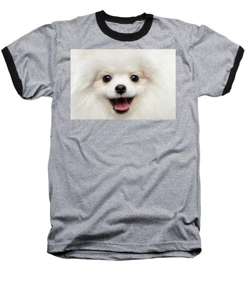 Closeup Furry Happiness White Pomeranian Spitz Dog Curious Smiling Baseball T-Shirt