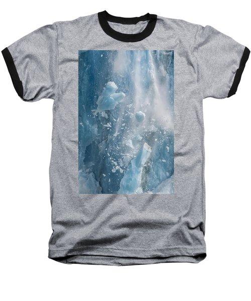 Closeup Of Dawes Glacier Calving Baseball T-Shirt