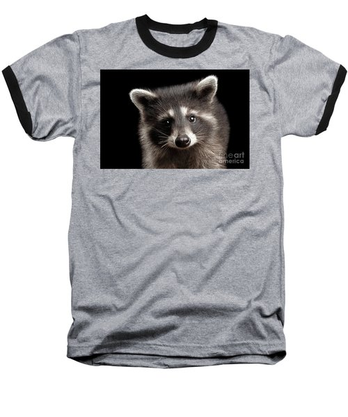 Closeup Portrait Cute Baby Raccoon Isolated On Black Background Baseball T-Shirt