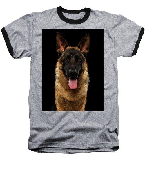 Closeup Portrait Of German Shepherd On Black  Baseball T-Shirt