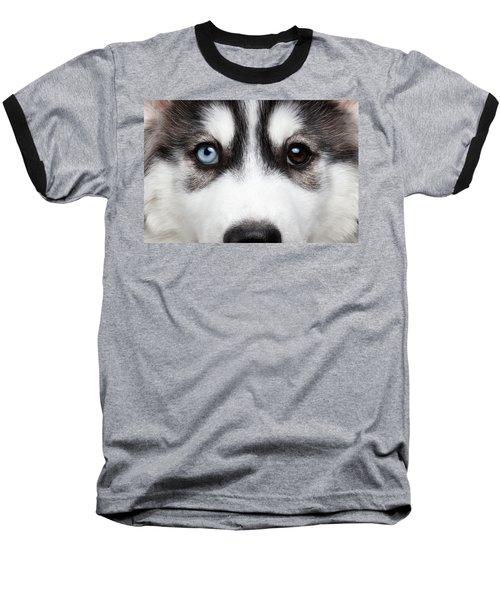 Closeup Siberian Husky Puppy Different Eyes Baseball T-Shirt