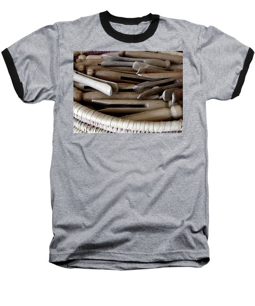 Clothes-pins Baseball T-Shirt by Lainie Wrightson