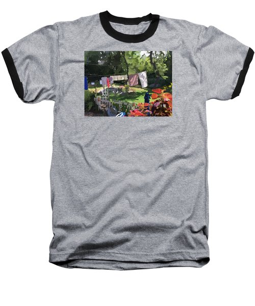 Clothesline And Coleus In An East Gloucester  Ma Garden  Baseball T-Shirt