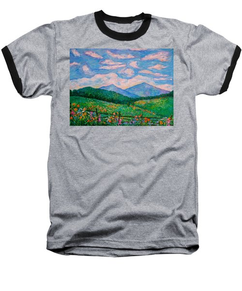 Cloud Swirl Over The Peaks Of Otter Baseball T-Shirt by Kendall Kessler