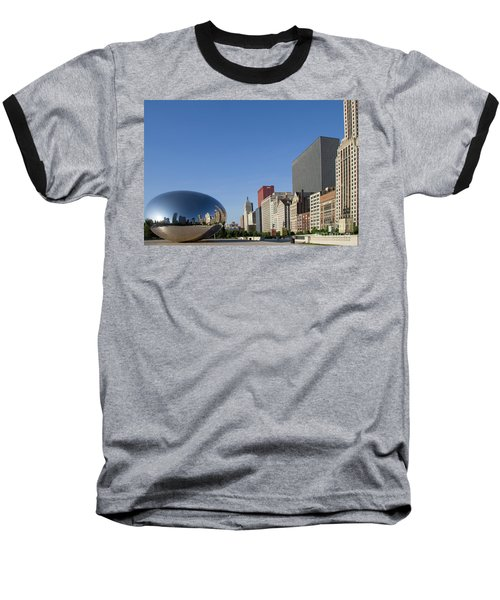 Cloudgate Reflects Michigan Avenue  Baseball T-Shirt