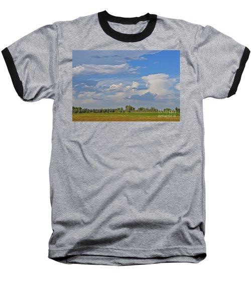 Clouds Aboive The Tree Farm Baseball T-Shirt