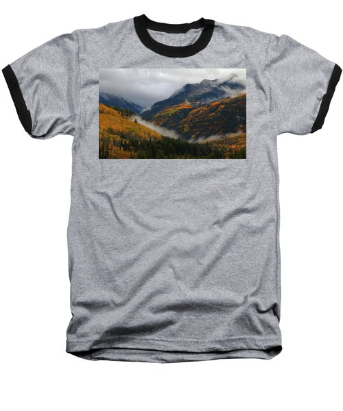 Baseball T-Shirt featuring the photograph Clouds And Fog Encompass Autumn At Mcclure Pass In Colorado by Jetson Nguyen