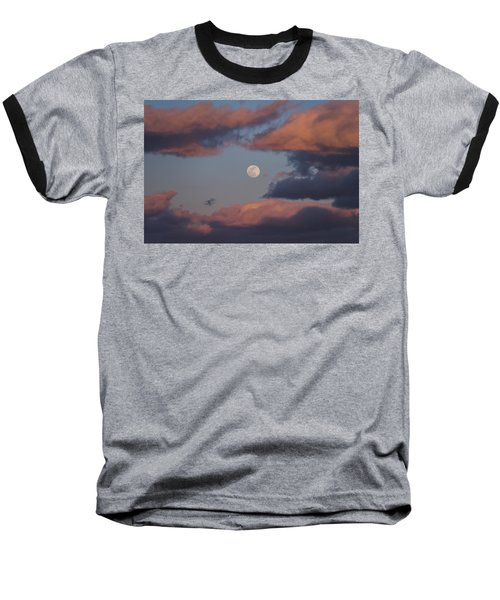 Baseball T-Shirt featuring the photograph Clouds And Moon March 2017 by Terry DeLuco
