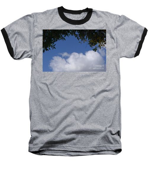 Clouds Framed By Tree Baseball T-Shirt by Nora Boghossian
