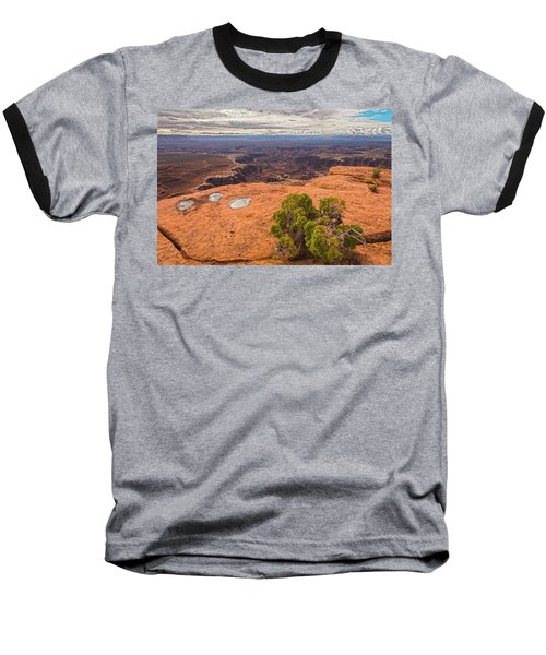 Clouds Junipers And Potholes Baseball T-Shirt by Angelo Marcialis