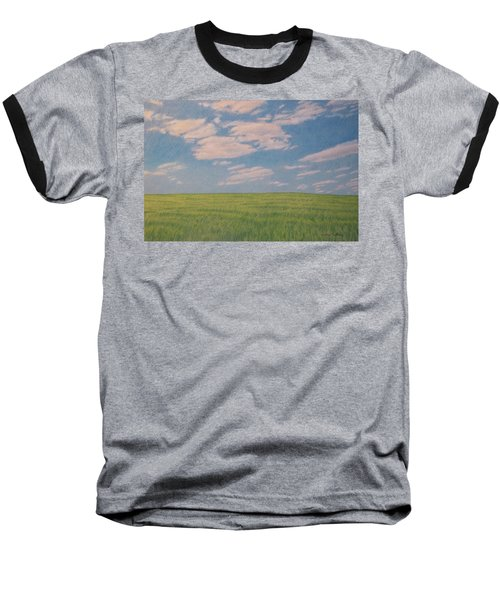 Clouds Over Green Field Baseball T-Shirt