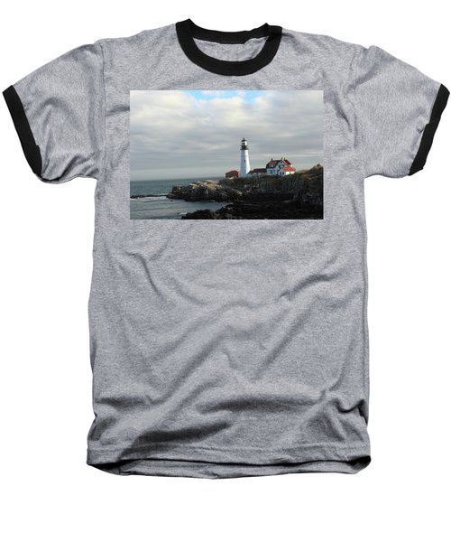 Clouds Over Portland Head Lighthouse 2 Baseball T-Shirt by Lou Ford