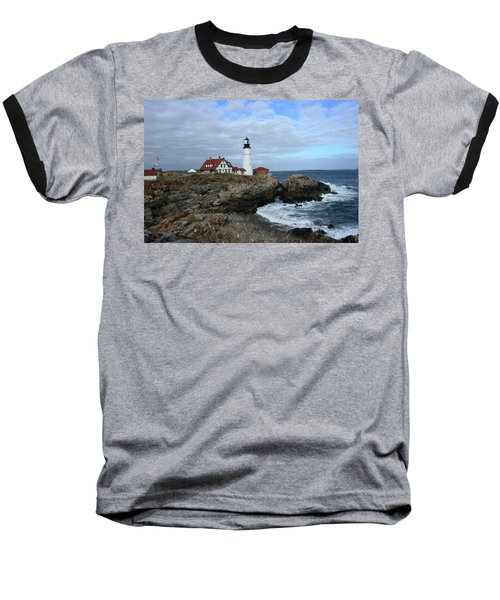Clouds Over Portland Head Lighthouse Baseball T-Shirt by Lou Ford