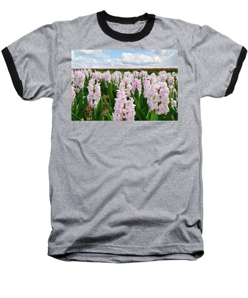 Clouds Over The Pink Hyacinth Field Baseball T-Shirt