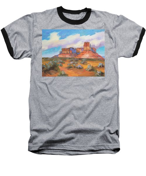 Baseball T-Shirt featuring the painting Clouds Passing Monument Valley by Diane McClary