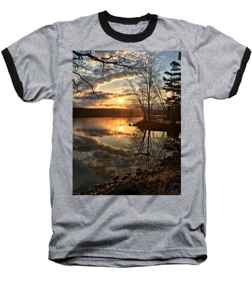 Clouds, Reflection And Sunset  Baseball T-Shirt by Betty Pauwels