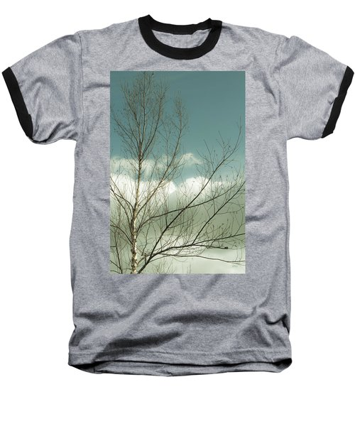 Baseball T-Shirt featuring the photograph Cloudy Blue Sky Through Tree Top No 1 by Ben and Raisa Gertsberg