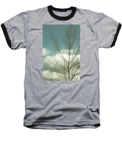Baseball T-Shirt featuring the photograph Cloudy Blue Sky Through Tree Top No 2 by Ben and Raisa Gertsberg