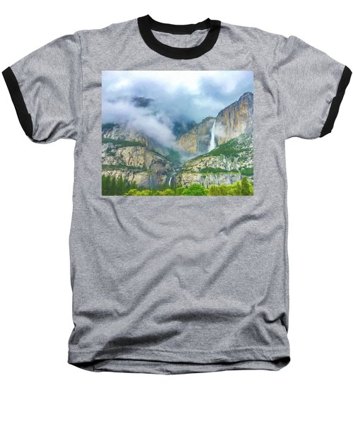 Cloudy Day At Yosemite Falls Digital Watercolor Baseball T-Shirt
