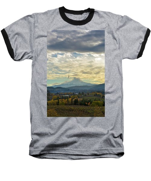 Cloudy Day Over Mount Hood At Hood River Oregon Baseball T-Shirt
