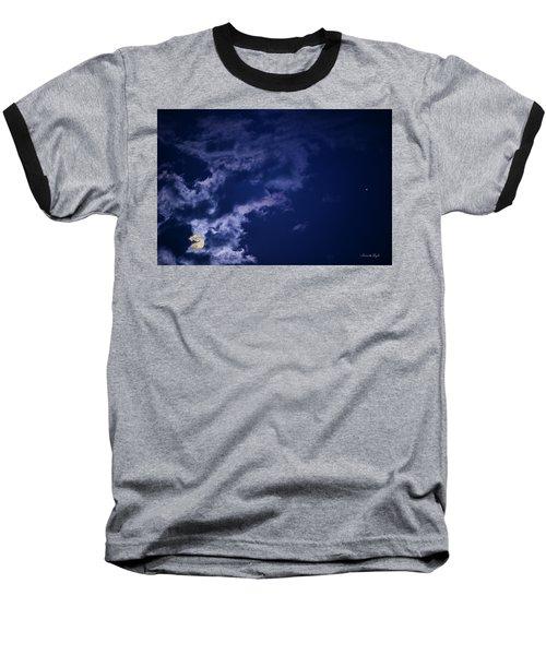 Cloudy Moon With Jupiter Baseball T-Shirt