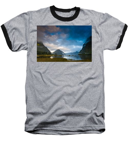 Cloudy Morning At Milford Sound At Sunrise Baseball T-Shirt by Ulrich Schade