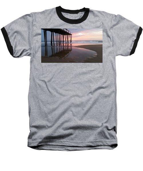 Cloudy Morning Reflections Baseball T-Shirt by Robert Banach