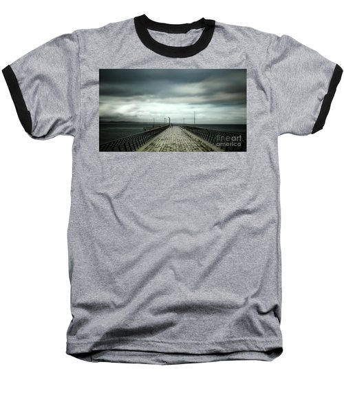 Baseball T-Shirt featuring the photograph Cloudy Pier by Perry Webster