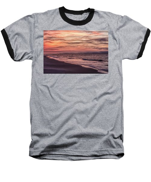 Baseball T-Shirt featuring the photograph Cloudy Sunrise At The Beach by John McGraw