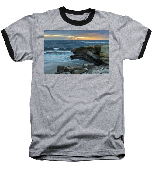 Cloudy Sunset At La Jolla Shores Beach Baseball T-Shirt