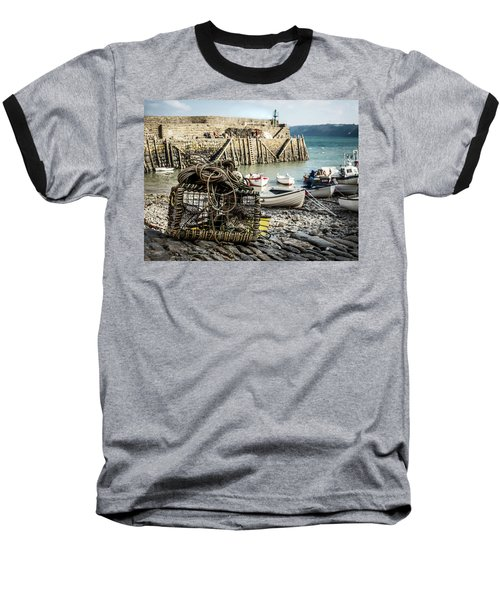 Clovelly Crab Trap Baseball T-Shirt