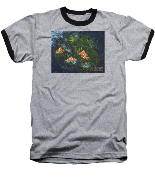 Baseball T-Shirt featuring the painting Clowning Around by Carol Sweetwood