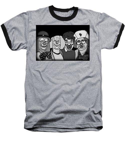 Clowns Bw Baseball T-Shirt by Megan Dirsa-DuBois